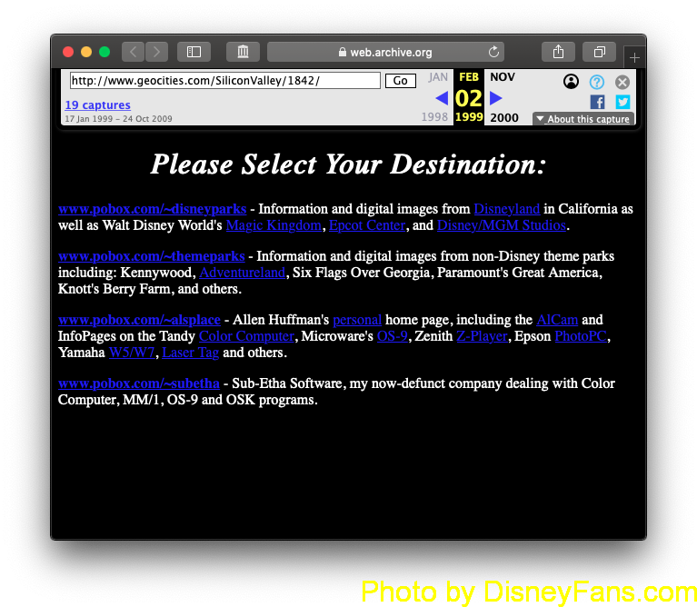 My original web site in 1997…